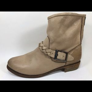 Blackstone Taupe Leather Ankle Boots Women's 39